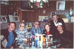 Randy Willis, Rudy Cisneros, Sammy Allred, Darrell Royal and Johnny Rodriguez. Breakfast at Cisco's Restaurant in Austin