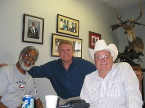 Earl Campbell, Randy Willis, Bum Phillips. Lunch at Earl's office